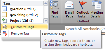 Customize OneNote Tags