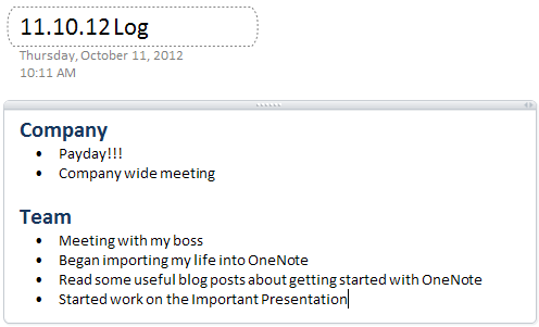 OneNote Daily Log