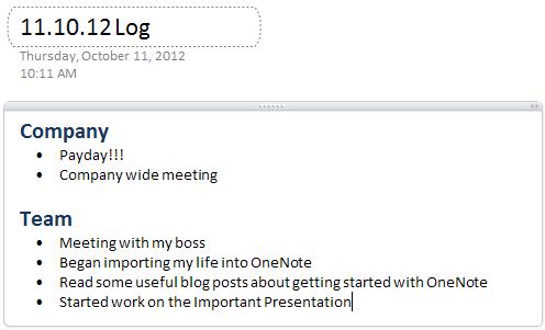 OneNote Daily Log