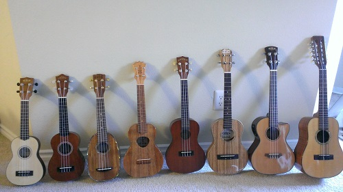 My Ukuleles From Smallest to Largest
