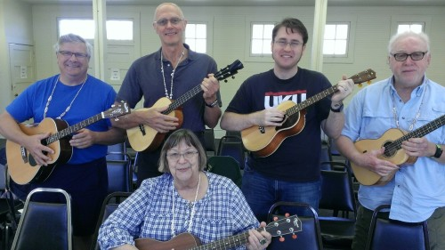 Class photo after the first session of the Baritone Ukulele Support Group