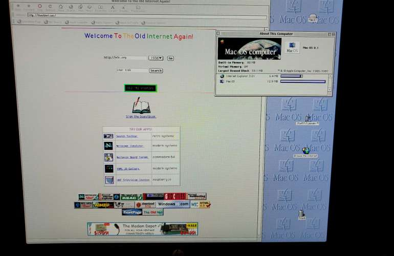 Power Mac visiting The Old Net via IE 3.0.1