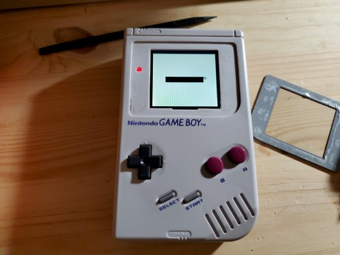 IPS-modded Game Boy assembled without the lens