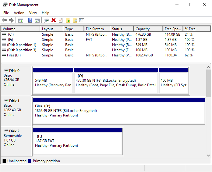 Disk Management - New 2GB SD Card