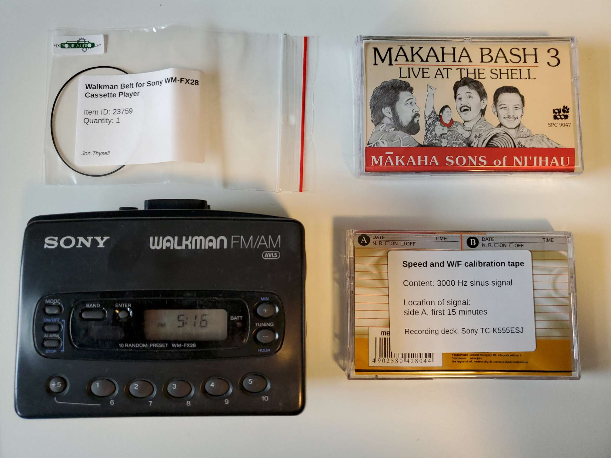 Sony Walkman WM-FX28 with Replacement Belt, Speed Calibration Tape, and Hawaiian Cassette
